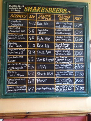shakespeares beer board 2000