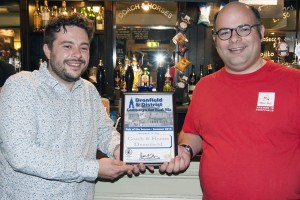 James at the Coach & Horses receives their Dronfield Pub of the Season award