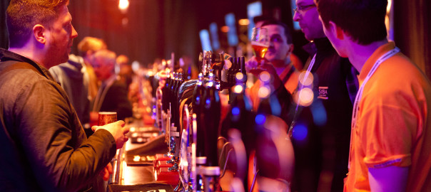 Drinkers at BeerX's 30metre bar